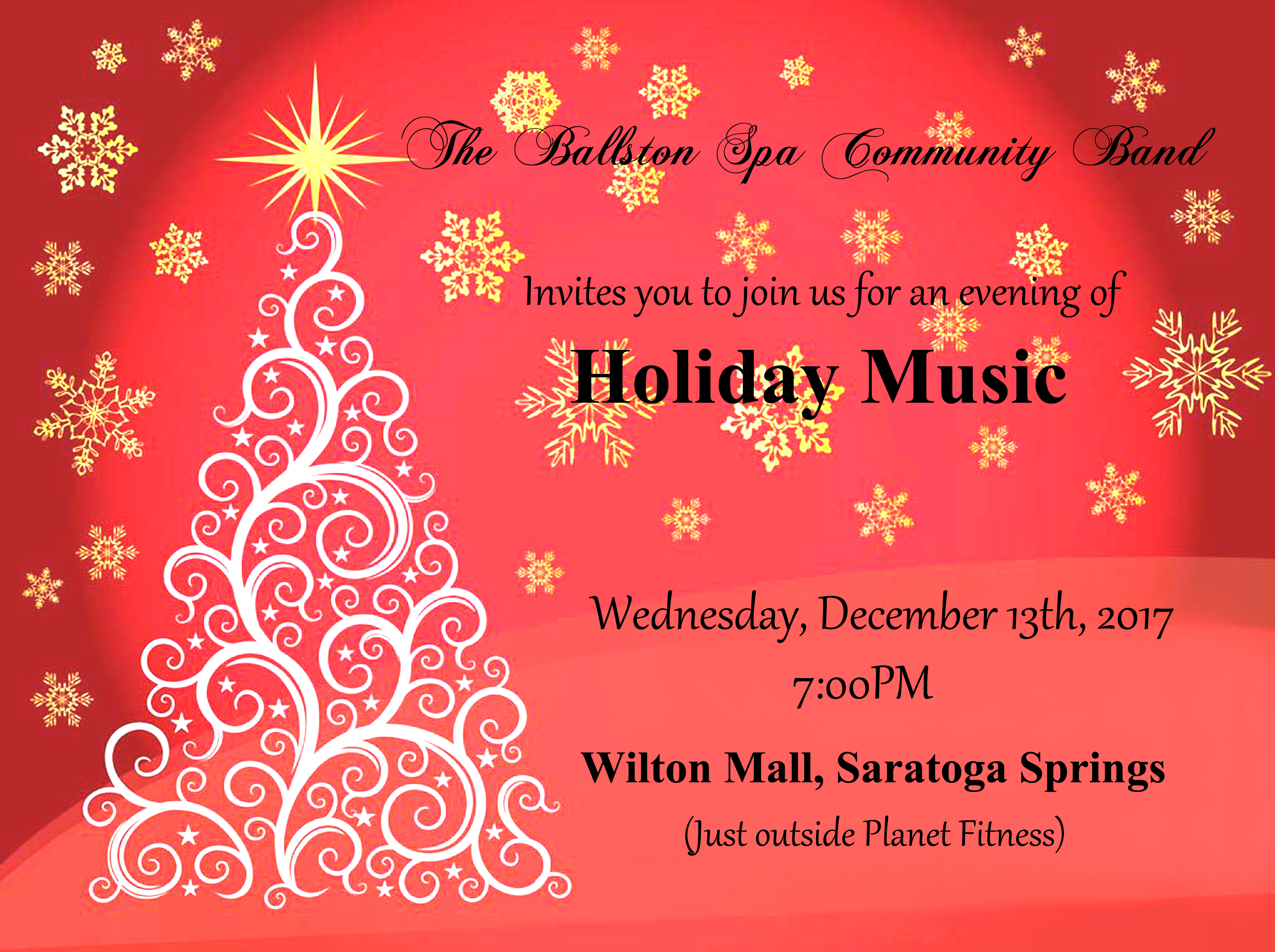 join us at 7pm on wednesday december 13 at the wilton mall for a concert of holiday favorites we will be inside the mall near planet fitness